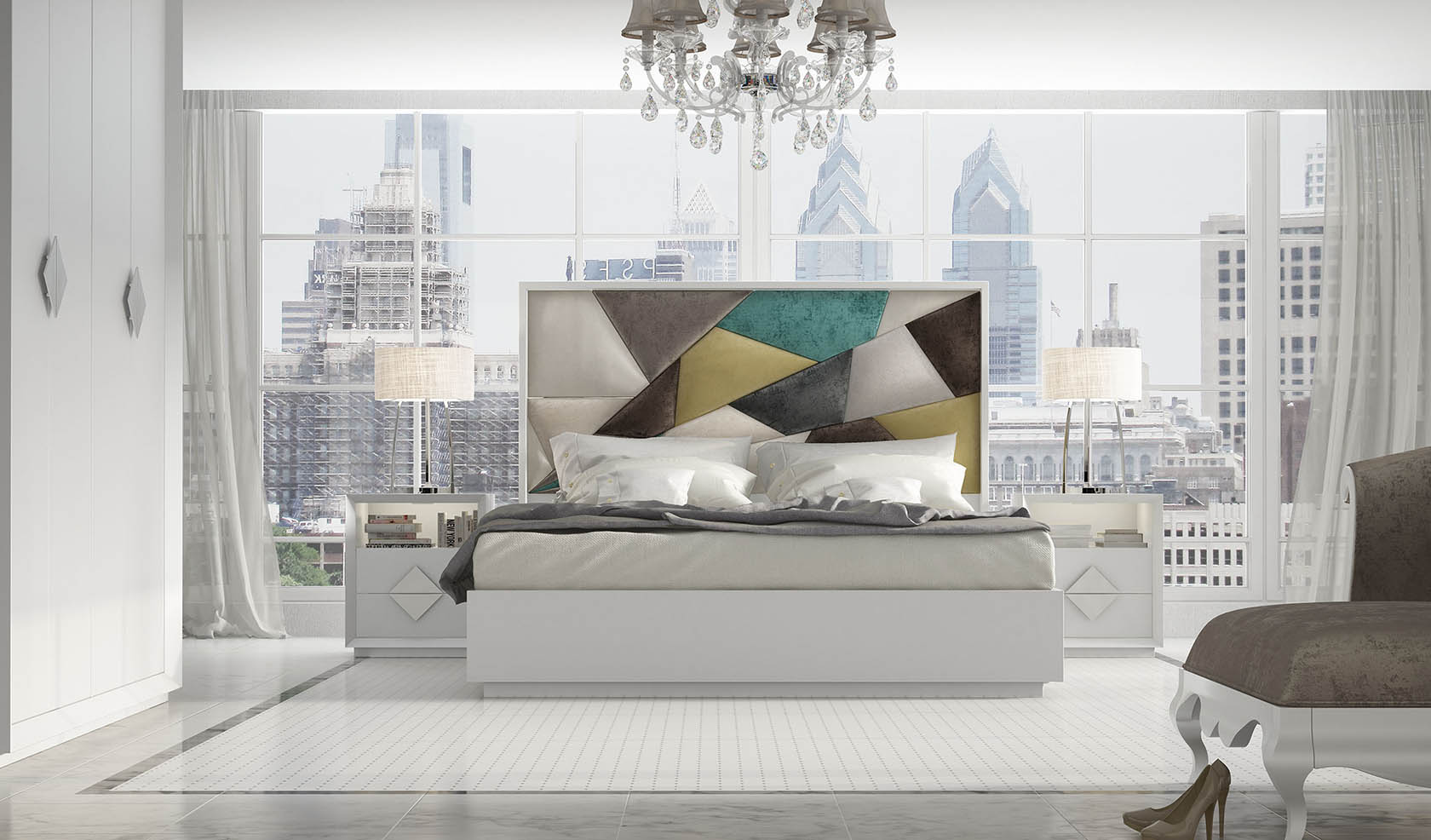 Dormitorio Franco Furniture con cabecero tapizado